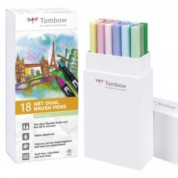 Tombow Dual brush Set 18 Pennarelli Pastel colours