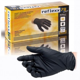 Reflexx 78 - M Nero - 100 guanti in Nitrile