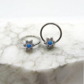 Septum Titanio con zirconi ed opale Blu 1,2 *10mm