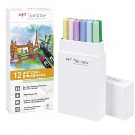Tombow Dual brush Set 12 Pennarelli Pastel colours