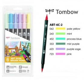 Tombow Dual brush Set 6 Pennarelli Pastel Colours