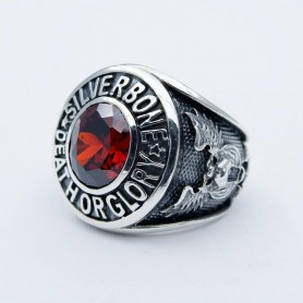 Silverbone Anello Death Or Glory Red - Size 14