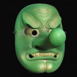 Maschera in Resina Tengu Dipinta a mano Green