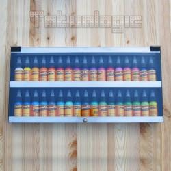 Espositore chiuso a Muro in Plexiglass e Alluminio 2 ripiani 34 colori 25x50