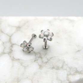 Labret in Titanio con 7 pietre opali - Bianco 1,2 *8mm