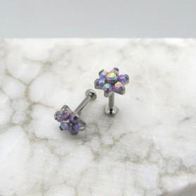 Labret in Titanio con 7 pietre opali - Rainbow 1,2 *8mm