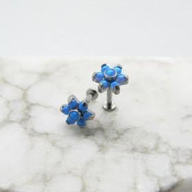 Labret in Titanio con 7 pietre opali - Azzurro 1,2 *8mm