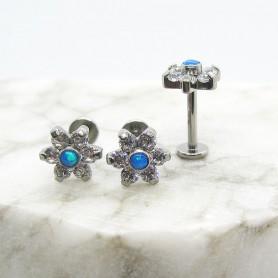 Labret in Titanio con zirconi ed opale Blu 1,2 *8mm