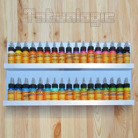 Espositore a Muro in Plexiglass e Alluminio 2 ripiani 34 colori 25x50