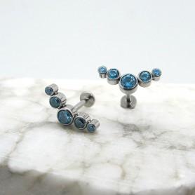 Labret in Titanio con zirconi Azzurri 1,2 *8mm